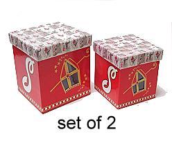 Sint doos papier vierkant hoog Mozaiek S/2 120x120x120mm rood wit