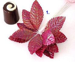 shiny leaves x12, burgundy