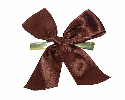 Bow ready made No 710 double face satin 25mm clipband 60mm brown