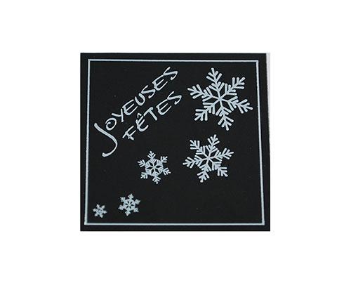 label x-mas joyeuses fetes black with silver 500pcs