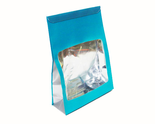 Sac etui klein turquoise/zilver inclusief sluitingsclip