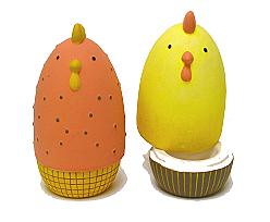 Chick Eggholder to fill / 2 ass/ yellow/brown ceramic
