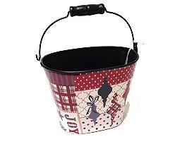 Joy oval basket metal redwhite black