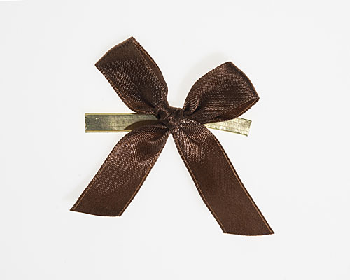 Bow ready made No 710 double face satin 15mm clipband 60mm brown