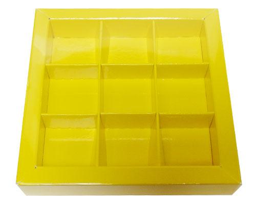Windowbox 100x100x19mm 9 division jaune laqué