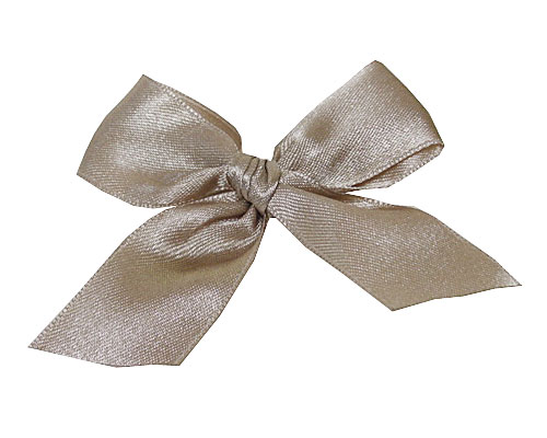 Bow ready made No 000 double face satin 25mm clipband 60mm taupe