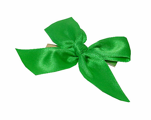 Bow ready made No 605 double face satin 25mm clipband 60mm apple