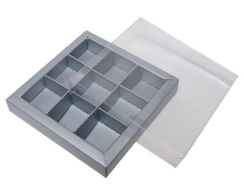 Windowbox 100x100x19mm 9 division silver