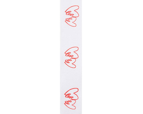 DoubleFaceSatin Double hearts white/red