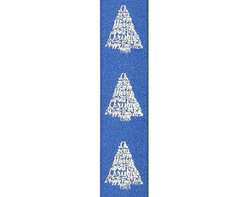 DoubleFaceSatin xmastree text blue/silver