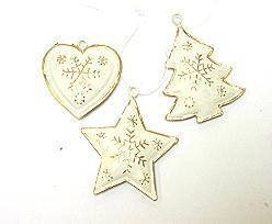 box hanger metal heart star tree, price per box of 18 pcs, ivorygold