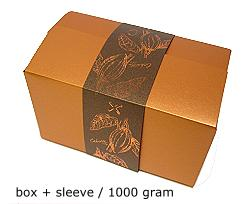 ballotin 1000 gr cacao coppertin, sleeve in bronztwist