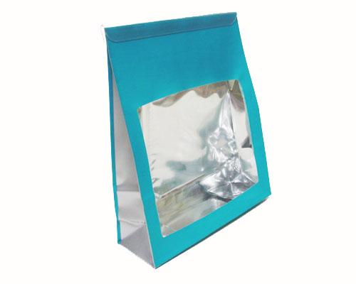 Sac etui groot turquoise/zilver inclusief sluitingsclip