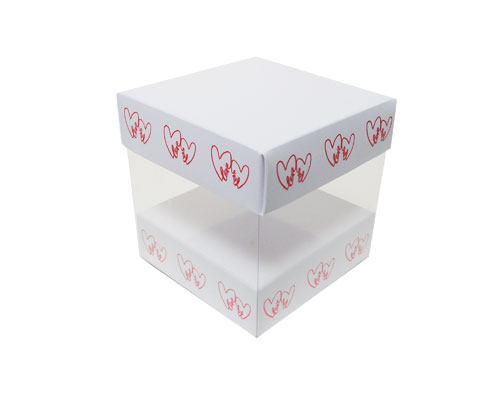 Skylinebox L100xW100xH100mm exterior Double hearts white/red
