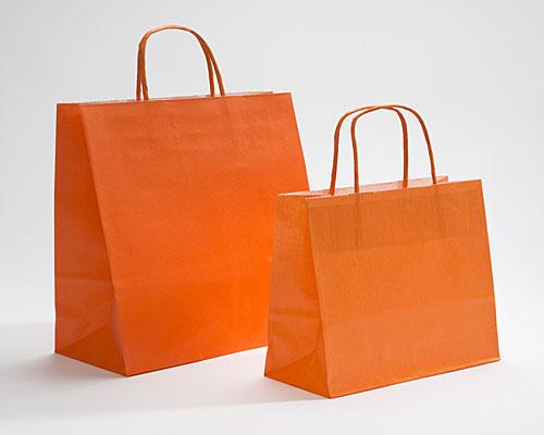 Paper bag curled handle L180xW80xH220mm orange