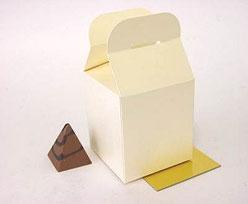 Cubebox handle small 75x75x75mm ivorytwist with goldcarton