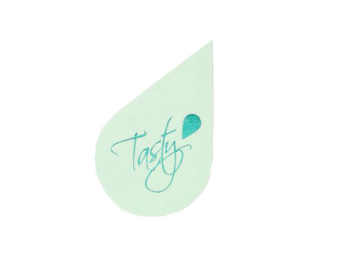 Tasty label mintgreen with turquoise 500pcs