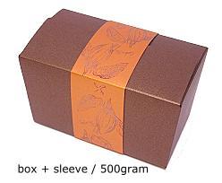 ballotin 500 gr cacao bronztwist, sleeve in coppertin