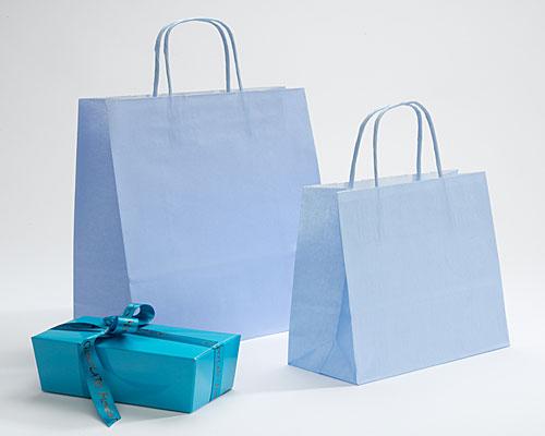 Paper bag curled handle L180xW80xH220mm light blue
