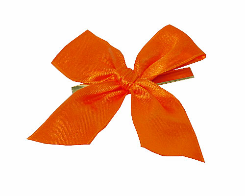 Bow ready made No 108 double face satin 25mm clipband 60mm orange