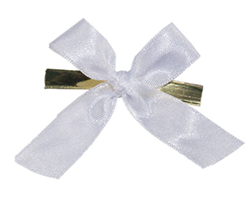 Bow ready made No 801 double face satin 15mm clipband 60mm white