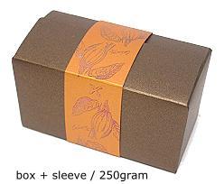 ballotin 250 gr cacao bronztwist, sleeve in coppertin