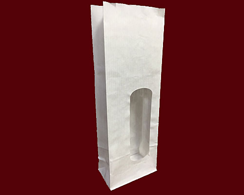 Blockbag with window kraft white 70x40x200mm