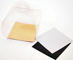 PVC take away box L75xW75xH75mm + gold cardboard