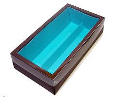 Macaron box 2 row brown blue Kreta