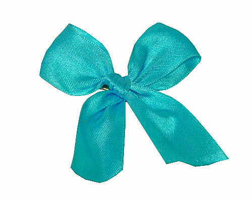 Bow ready made No 503 double face satin 25mm clipband 60mm turquoise