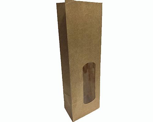 Blockbag with window kraft brown 80x50x240mm