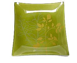 Plate glass square flower, orange green