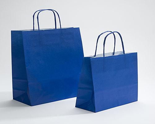 Paper bag curled handle L180xW80xH220mm d blue