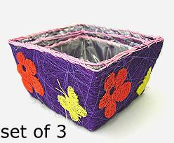 Flower Sisal Set of 3, violet multi