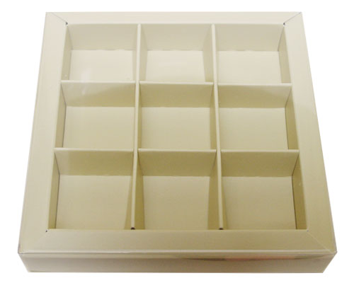 Windowbox 100x100x19mm 9 division ivory