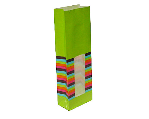 Bag with stripes L70xW40xH200mm green