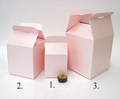 Cubebox handle small 75x75x75mm pink with goldcarton