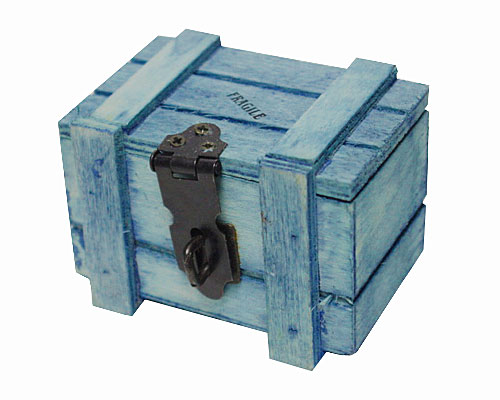 Crate wood , small, cyaan blue