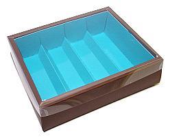 Macaron box 4 row brown blue Kreta