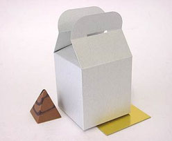 Cubebox handle middle 100x100x100mm silvertin with goldcarton
