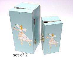 Elf boxes wood / set of 2 / price per set, blue white
