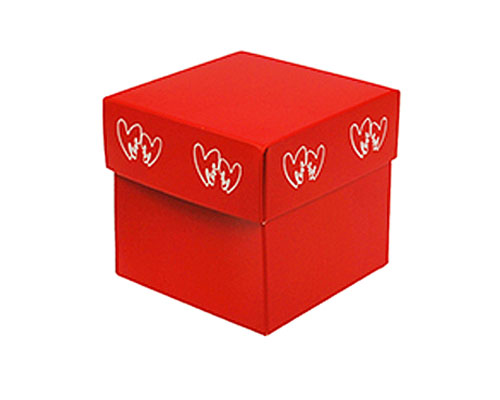 Cubebox Double Hearts 80x80x75mm red/white