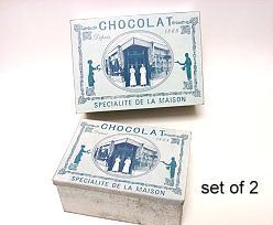 BoxMetal Rect. Chocolat Set of 2  GreyBlue