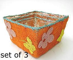 flower sisal set of 3, orange multi