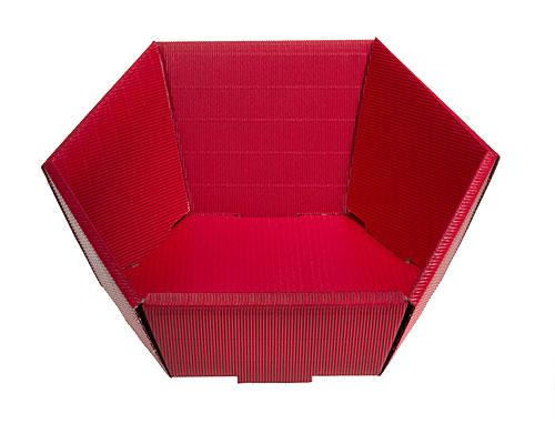 Basket hexa medium L305xW258mm front H75mm/ back H130mm red