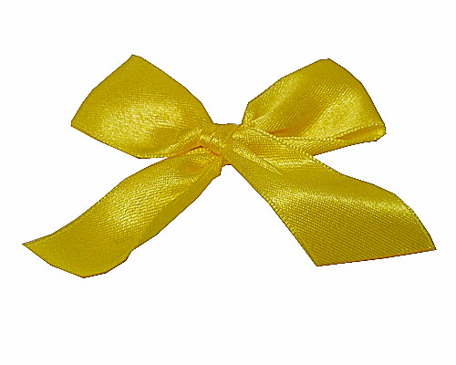 Bow ready made No 007 double face satin 25mm clipband 60mm yellow