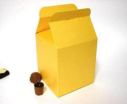 Cubebox handle small 75x75x75mm goldyellow with goldcarton