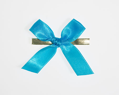 Bow ready made No 503 double face satin 15mm clipband 60mm turquoise