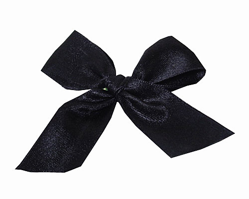 Bow ready made No 810 double face satin 25mm clipband 60mm black
