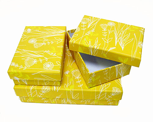Paperboxes rectangular / set of 3 / one large/ two smaller/ ocreyellow flowers